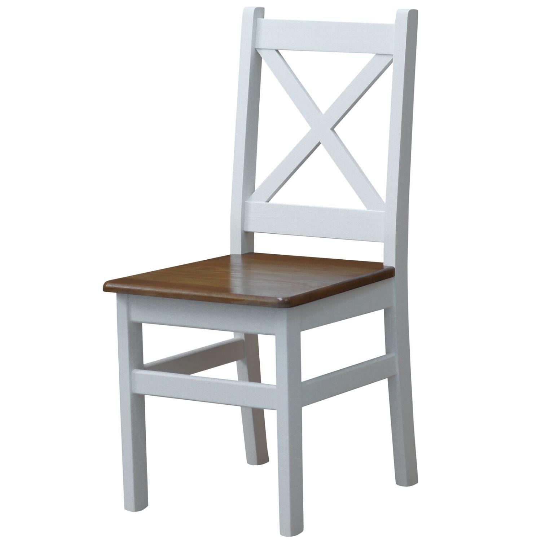 stuhl kreuzstuhl wei massiv kiefer holz neu landhausstil massivholz ebay. Black Bedroom Furniture Sets. Home Design Ideas