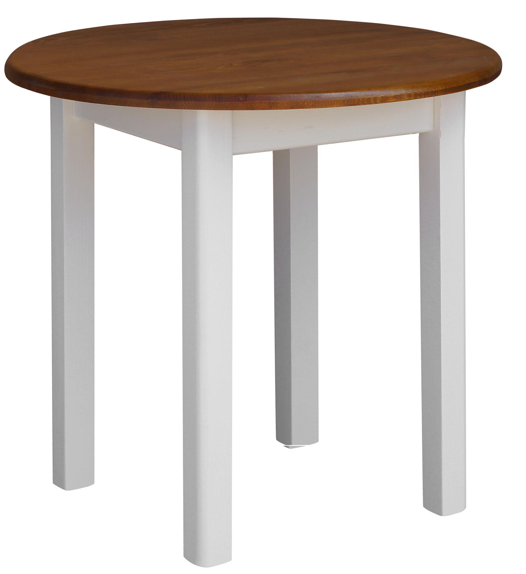 Runder Kiefer Tisch Esstisch Holz Küchentisch massiv weiß